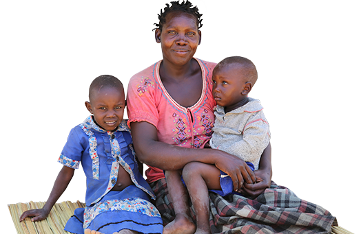 Village Enterprise entrepreneur, Lucy, with her two children