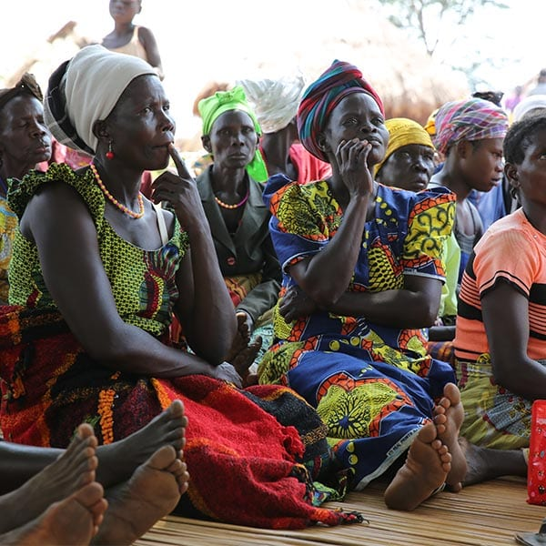 Group of African women listening to a presentation