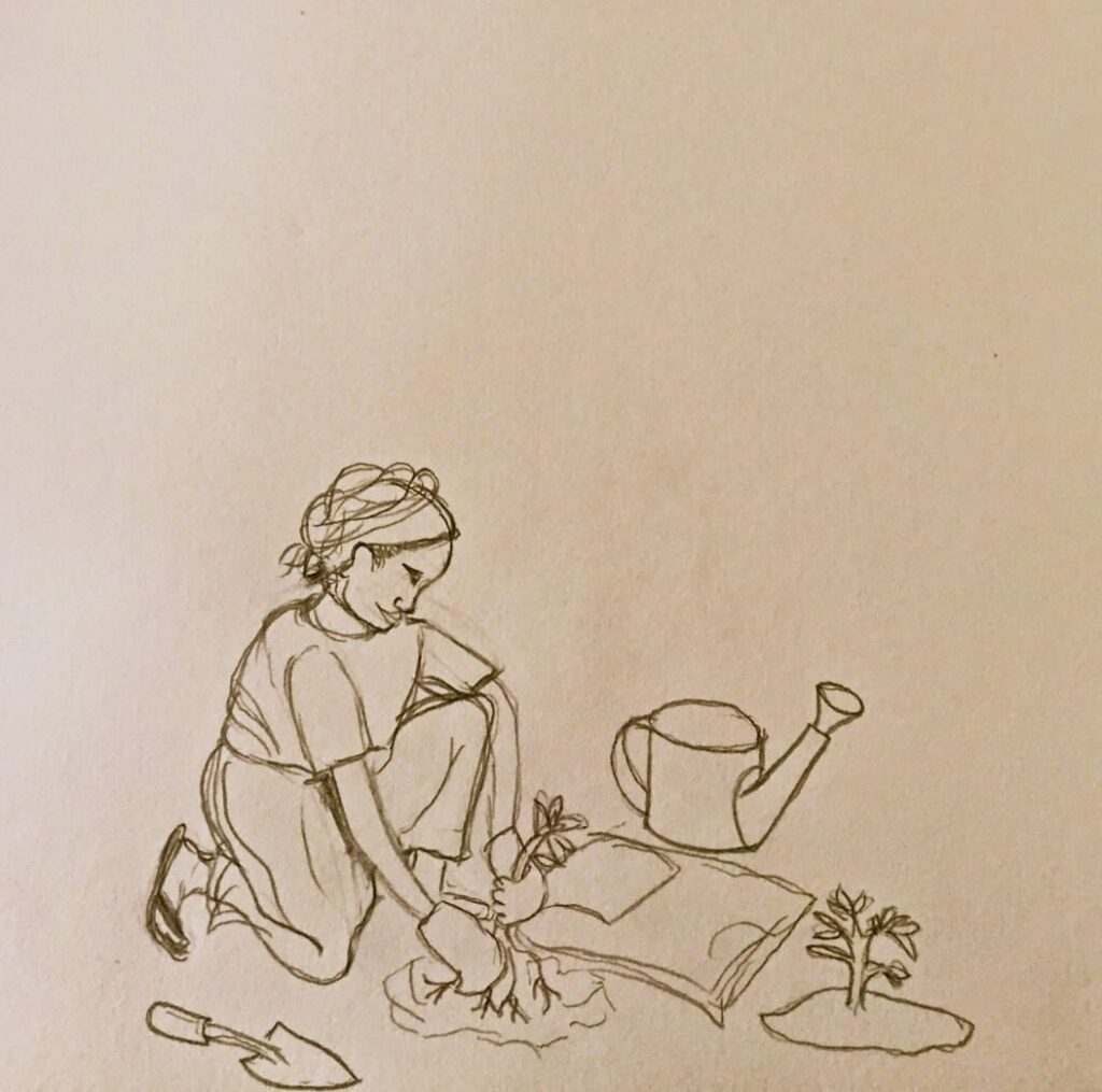 A drawing of a woman planting