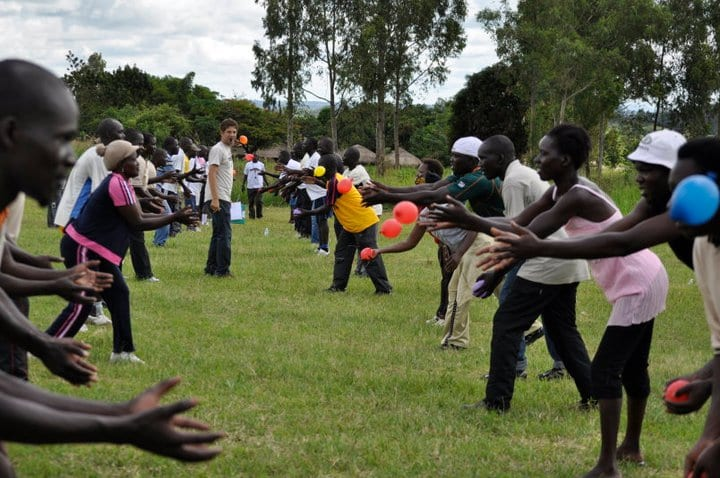 "Zach in an exercise with ""The Recreation Project"" in Gulu, Uganda, which he co-founded"