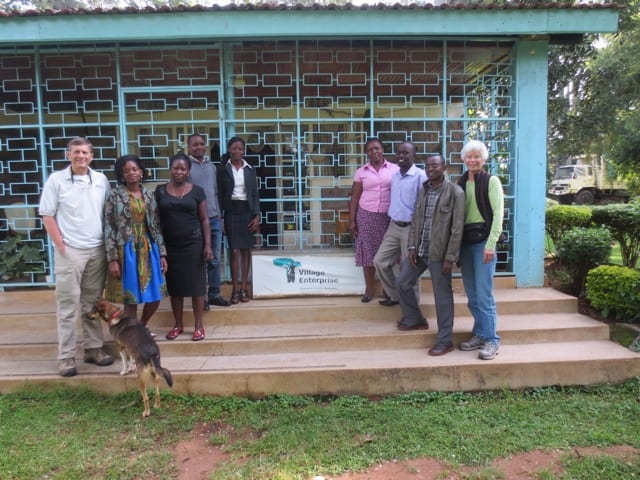 Members of 3rd Creek Foundation posing with Village Enterprise field staff