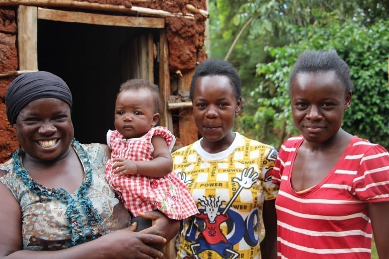 Village Enterprise business owner Betty Amase and her family