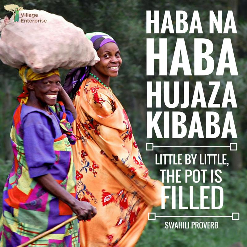 haba na haba hujaza kibaba: little by little, the pot gets filled