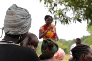 African baby looking over his mother's shoulder