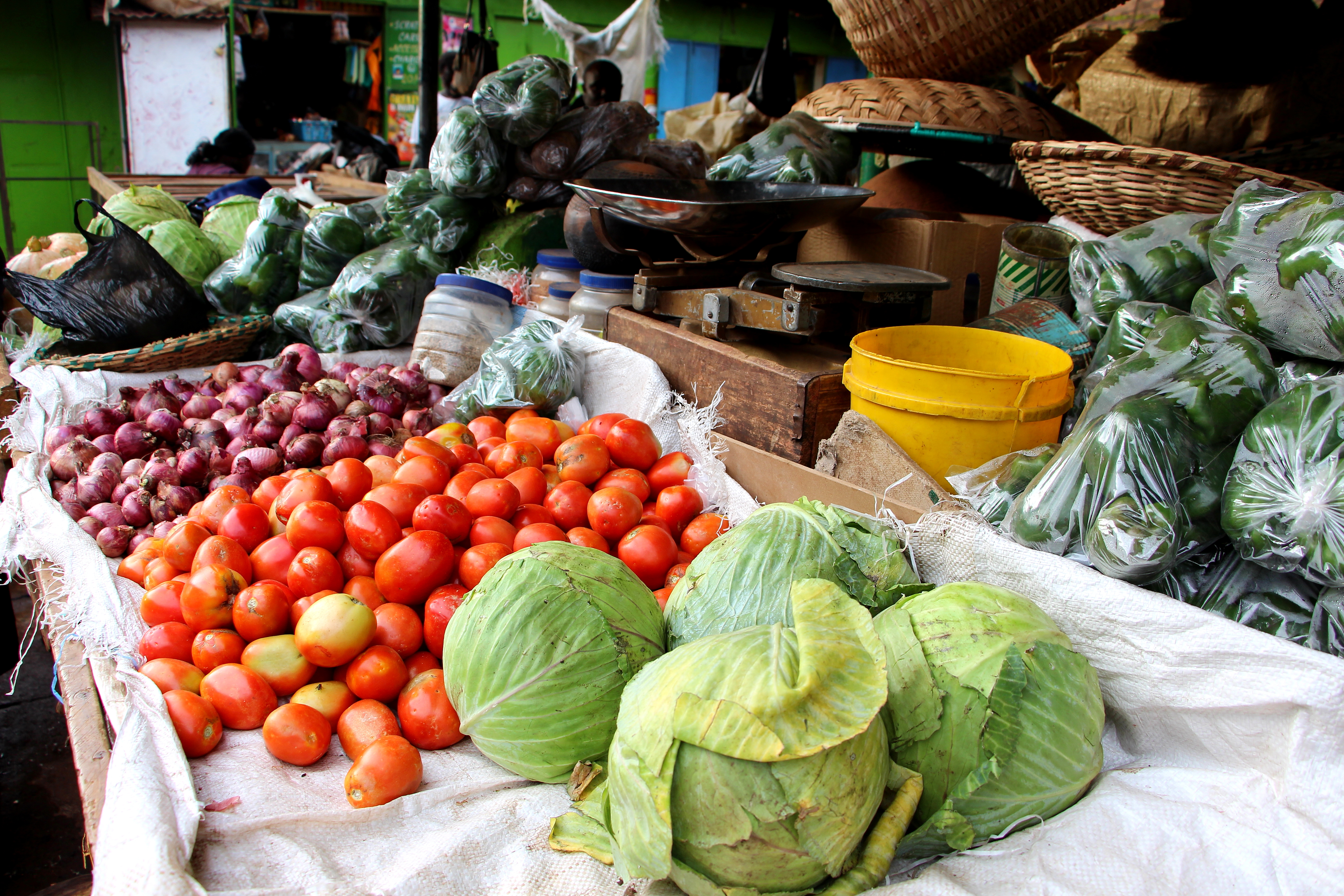 vegetables in the Kitale, Kenya, market