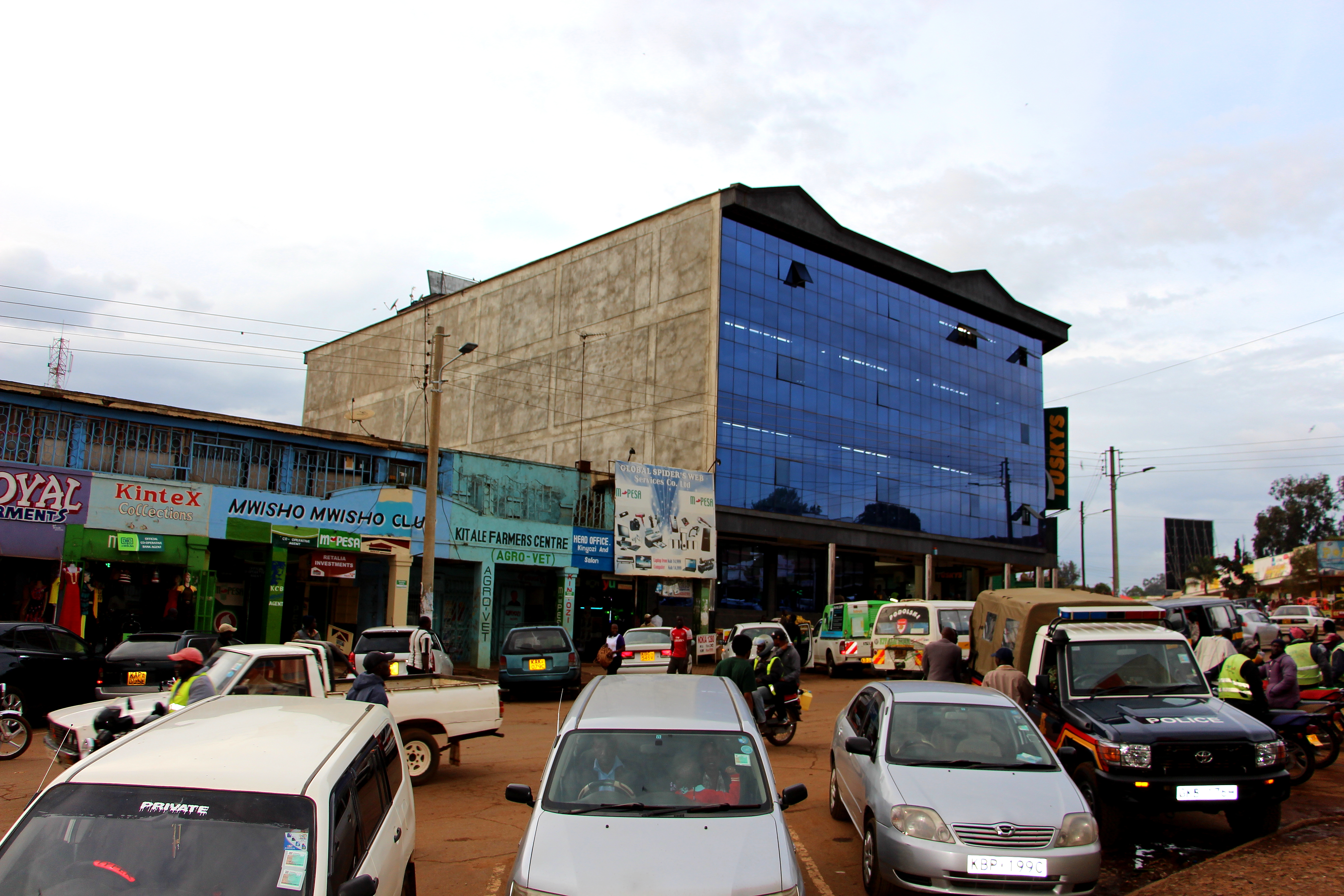 buildings along the road in Kitale, Kenya
