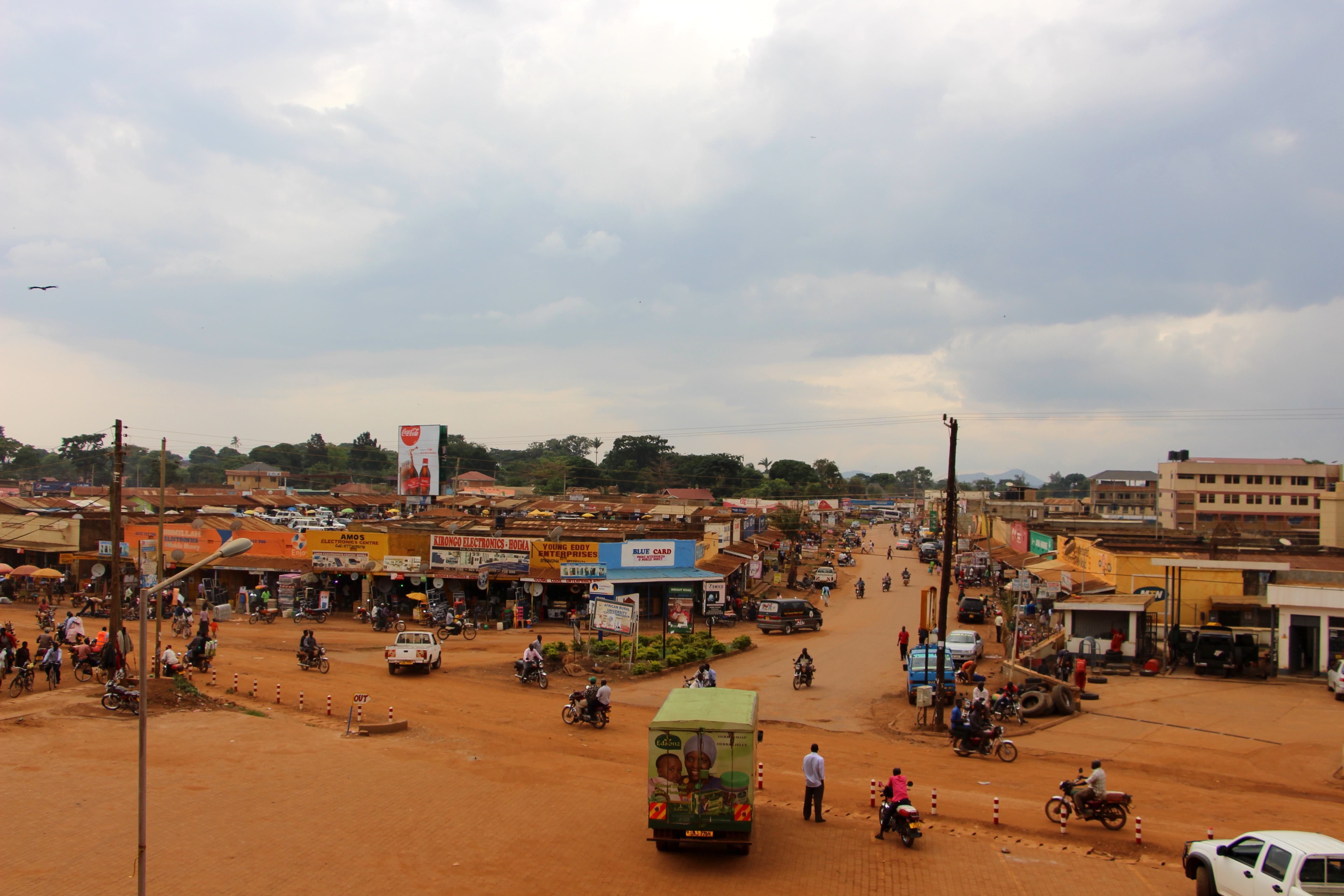 The bustling streets of Hoima Town.