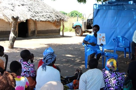 A Marie Stopes service provider teaching a group of African women