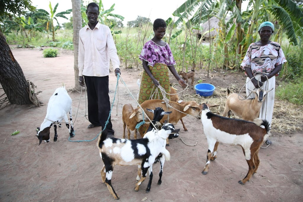 Village Enterprise business owner Matilda Aanyo and her goats