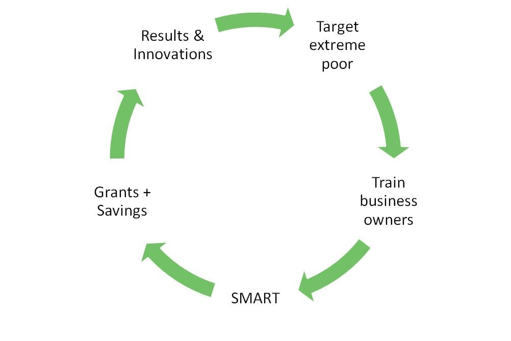 """circular graph labeled """"results & innovations,"""" """"target extreme poor,"""" """"train business owners,"""" """"smart,"""" """"grants + savings"""""""