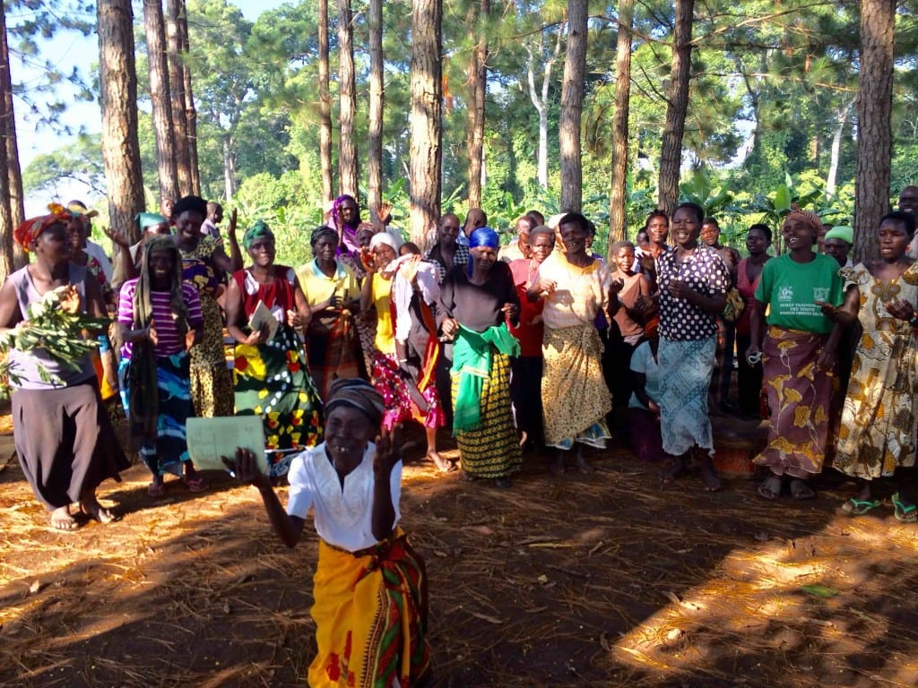 African women celebrating and dancing