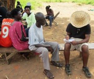 Village Enterprise business mentor checking in