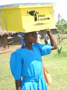 African woman with a beehive balanced on her head