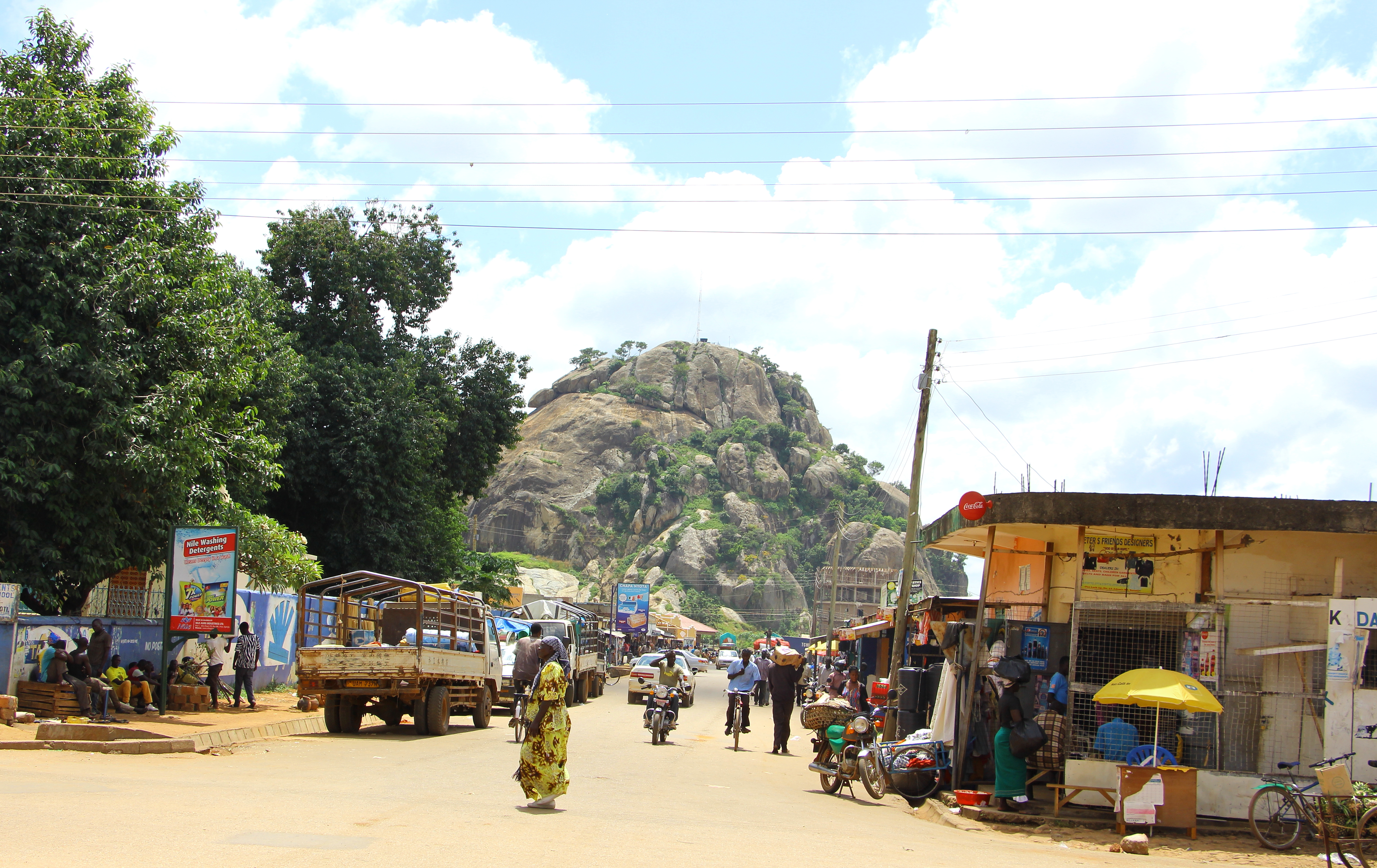 A view of Soroti Rock from a main street in town