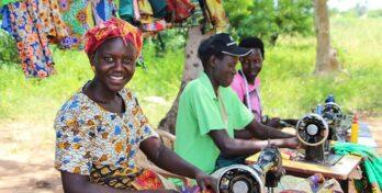 Women at sewing machine