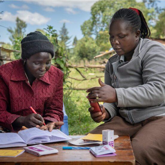 Women reviewing paperwork
