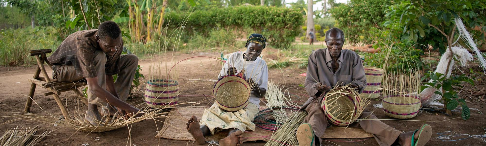 People making baskets